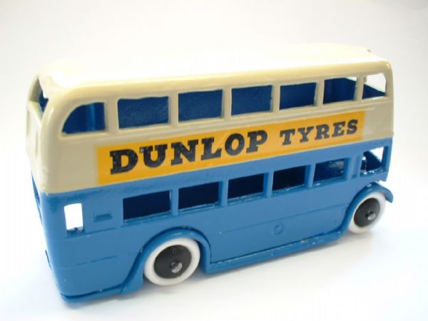 "A DINKY TOYS COPY MODEL 29C PRE-WAR BUS IN BLUE AND CREAM ""DUNLOP TYRES"""
